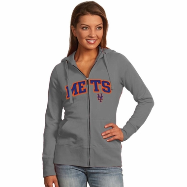 New York Mets Applique Womens Zip Front Hoody Sweatshirt (Color: Gray)