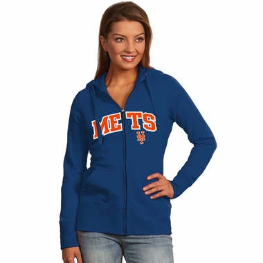 New York Mets Applique Womens Zip Front Hoody Sweatshirt (Color: Royal)