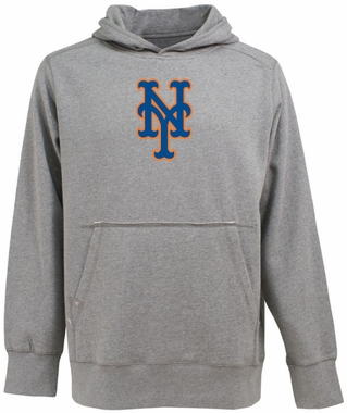 New York Mets Big Logo Mens Signature Hooded Sweatshirt (Color: Gray)