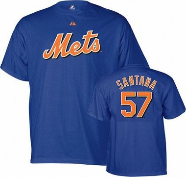 New York Mets Johan Santana YOUTH Name and Number T-Shirt - X-Large