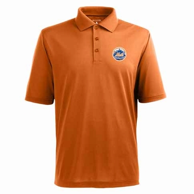 New York Mets Mens Pique Xtra Lite Polo Shirt (Color: Orange)