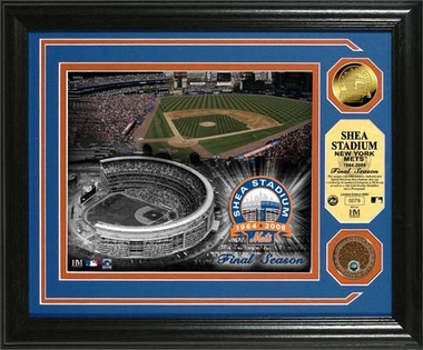 "New York Mets Shea Stadium ""Final Season"" 24KT Gold and Infield Dirt Coin Photo Mint"
