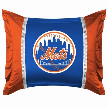New York Mets SIDELINES Jersey Material Pillow Sham