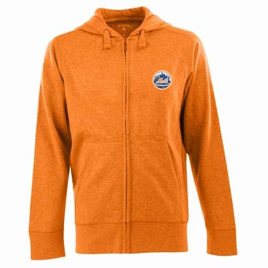 New York Mets Mens Signature Full Zip Hooded Sweatshirt (Color: Orange)