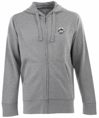 New York Mets Mens Signature Full Zip Hooded Sweatshirt (Color: Silver)