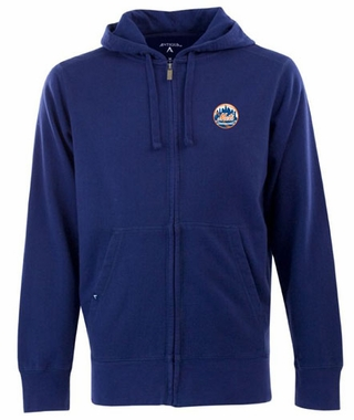New York Mets Mens Signature Full Zip Hooded Sweatshirt (Color: Royal)