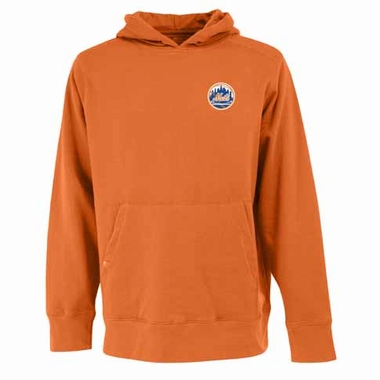 New York Mets Mens Signature Hooded Sweatshirt (Color: Orange)