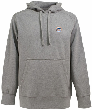 New York Mets Mens Signature Hooded Sweatshirt (Color: Gray)