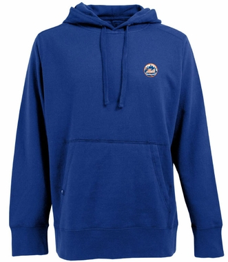 New York Mets Mens Signature Hooded Sweatshirt (Color: Blue)