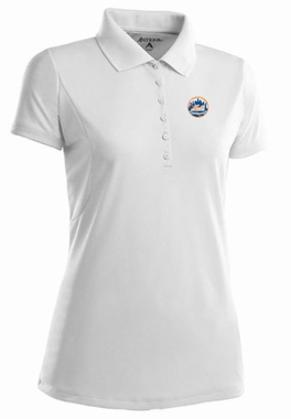 New York Mets Womens Pique Xtra Lite Polo Shirt (Color: White) - X-Large