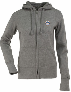 New York Mets Womens Zip Front Hoody Sweatshirt (Color: Gray)