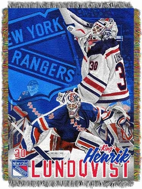New York Rangers Hendrick Lundqvist Woven Tapestry Throw Blanket