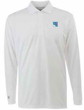New York Rangers Mens Long Sleeve Polo Shirt (Color: White)