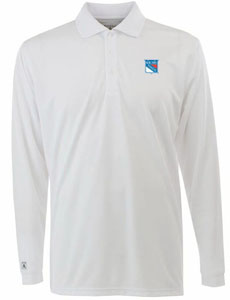 New York Rangers Mens Long Sleeve Polo Shirt (Color: White) - Small