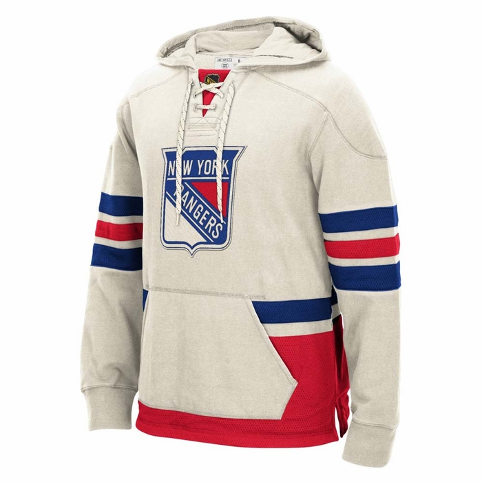 23287b16d New York Rangers Mens CCM Lace Em Up Pullover Hooded Sweatshirt - White