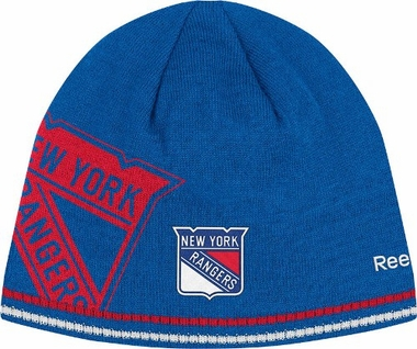 New York Rangers Oversized Logo Reversible Cuffless Knit Player Hat
