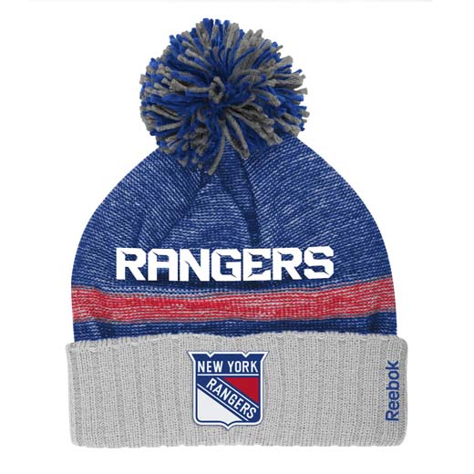 sale retailer 045c6 e1fef ... cheapest new york rangers reebok 2014 center ice cuffed knit hat w pom  c53c1 2af8d