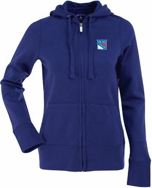 New York Rangers Womens Zip Front Hoody Sweatshirt (Color: Royal)