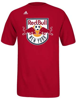 New york red bulls adidas primary logo t shirt red small for Red bull logo shirt