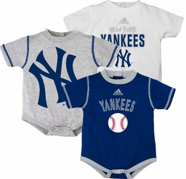 New York Yankees Adidas 3 Pack Bodysuit Creeper Set