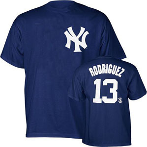 New York Yankees Alex Rodriguez YOUTH Name and Number T-Shirt - Large