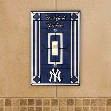 New York Yankees Art Glass Lightswitch Cover