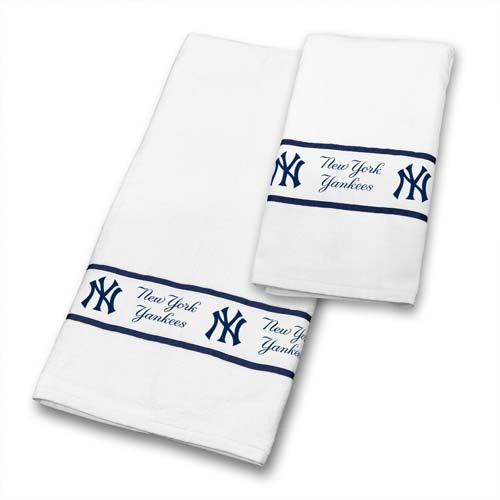 New york yankees bath towel set for Yankees bathroom decor