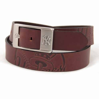 New York Yankees Brown Leather Brandished Belt