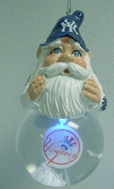 New York Yankees Light Up Gnome Snow Globe Ornament