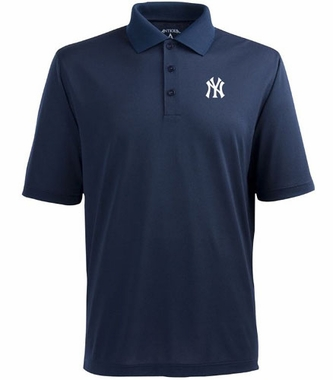 New York Yankees (NY Logo) Mens Pique Xtra Lite Polo Shirt (Color: Navy)