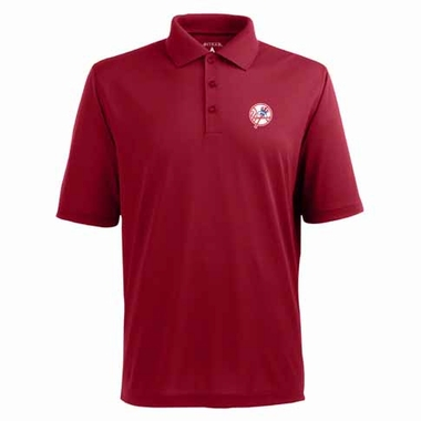 New York Yankees Mens Pique Xtra Lite Polo Shirt (Color: Red)
