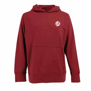 New York Yankees Mens Signature Hooded Sweatshirt (Color: Red) - Small