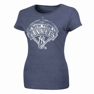 New York Yankees Womens Mandate to Win Heathered T-Shirt - Navy