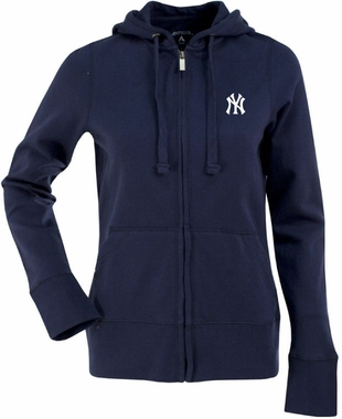 New York Yankees Womens Zip Front Hoody Sweatshirt (Color: Navy)