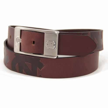 North Carolina Brown Leather Brandished Belt