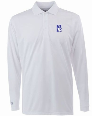 Northwestern Mens Long Sleeve Polo Shirt (Color: White)