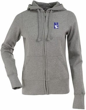 Northwestern Womens Zip Front Hoody Sweatshirt (Color: Gray)