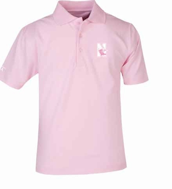 Northwestern YOUTH Unisex Pique Polo Shirt (Color: Pink)