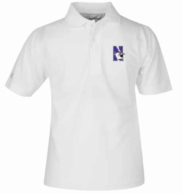 Northwestern YOUTH Unisex Pique Polo Shirt (Color: White)