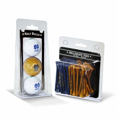 Notre Dame 3 Golf Balls And 50 Golf Tees