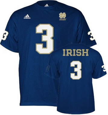 Notre Dame #3 Name And Number T-Shirt