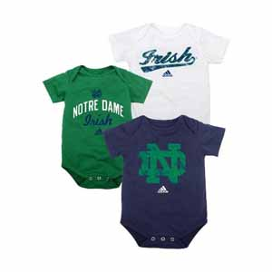 Notre Dame 3 Pack Distressed Creeper Set - 0-3 Months