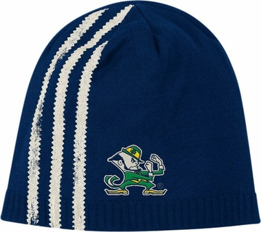 Notre Dame Cuffless Distressed Striped Knit Hat