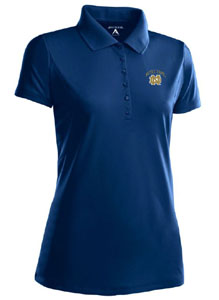 Notre Dame (ND) Womens Pique Xtra Lite Polo Shirt (Color: Navy) - Large
