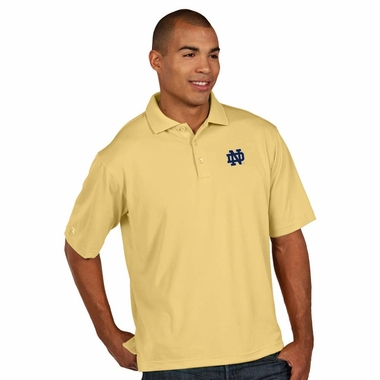Notre Dame Mens Pique Xtra Lite Polo Shirt (Color: Gold) - X-Large