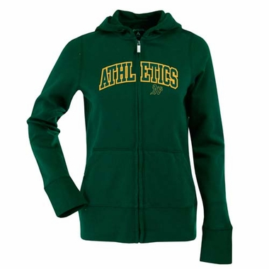 Oakland Athletics Womens Applique Zip Front Hoody Sweatshirt (Color: Green)