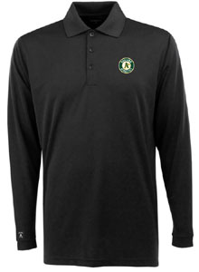 Oakland Athletics Mens Long Sleeve Polo Shirt (Color: Black) - X-Large