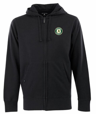 Oakland Athletics Mens Signature Full Zip Hooded Sweatshirt (Color: Black)