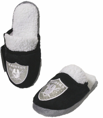 Oakland Raiders 2012 Womens Team Color Sherpa Glitter Slippers