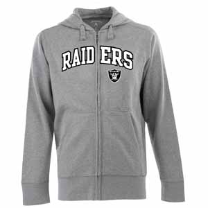 Oakland Raiders Mens Applique Full Zip Hooded Sweatshirt (Color: Silver) - Small